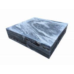 Marmor-Wasserspiel Sevilla, grau-weiß, poliert, 65x65x15 cm