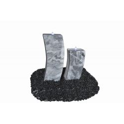 Marmor-Wasserspiel Curve, grau-weiß, 20 x 15 x H 50 / 70 cm
