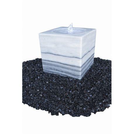 Marmorwürfel mit Kelch, grau-weiß, poliert, 30 x 30 x 30 cm