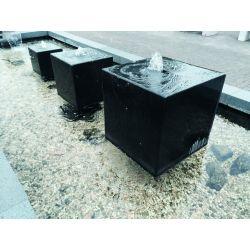 Granit-Würfel schwarz, poliert, gebohrt (ø 50mm), Komplettset, L 30 cm x B 30 cm x H 30 cm