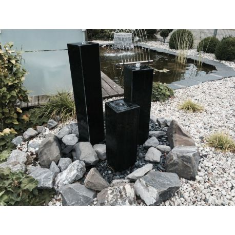 Granit-Säule schwarz, poliert, gebohrt, Komplettset, L 20 x B 20 X H 60/80/100 cm