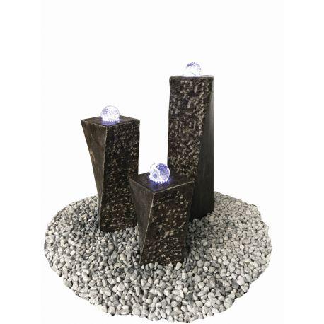 Limestone-Glaskugel-Säulensatz Zürich LED, 20 x 20 x H 40 / 60 / 80 cm