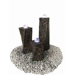 Limestone-Glaskugel-Säulensatz Zürich + LED, Komplettset, 20 x 20 x H 40 / 60 / 80 cm