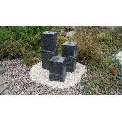 Granit-Wasserspiel Shanghai 3er Set, 20 x 20 cm, H 45 / 65 / 80 cm