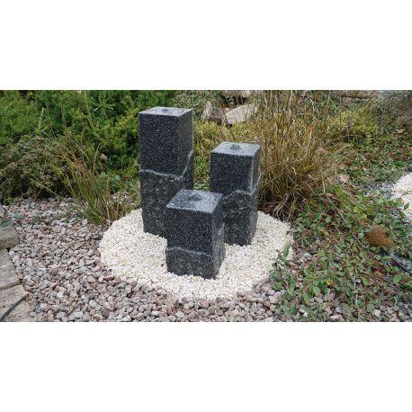 Granit-Wasserspiel Shanghai, Komplettset, 20 x 20 cm, H 45 / 65 / 80 cm