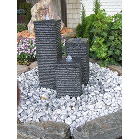 Granit-Wasserspiel Flow, Komplettset, 15 x 15 cm, H 20 / 35 / 50 cm