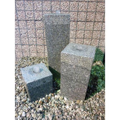 Granit-Wasserspiel Square, Komplettset, 15 x 15 cm, H 20 / 35 / 50 cm