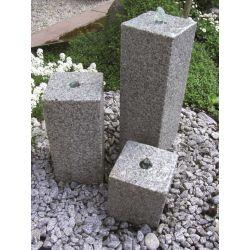 Granit-Wasserspiel Kubus, Komplettset, 15 x 15 cm, H 20/35/50 cm