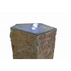 Basaltsäule Capri mit Kelch, gebohrt, ø 30 - 40, H 60 cm