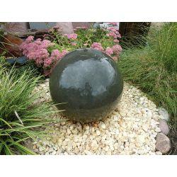 Granit - Kugel, grau, poliert, gebohrt, Komplettset, ø 40 cm