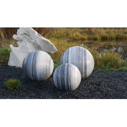 Marmorkugel, grau-weiß, poliert, Komplettset, ø 30 cm