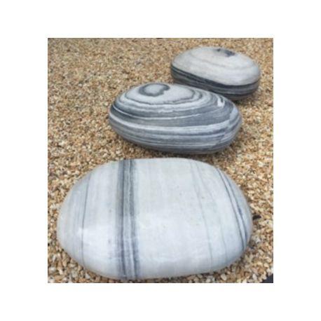 Deko-Pebbles Marmor grau - weiß, ø 50 - 60 cm x H 20 cm