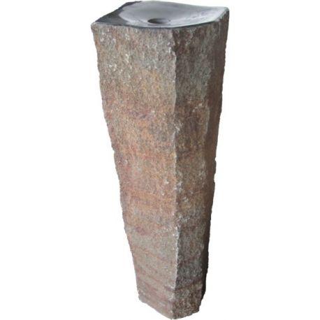 Basalt Quellstein Säule mit poliertem Kelch 446