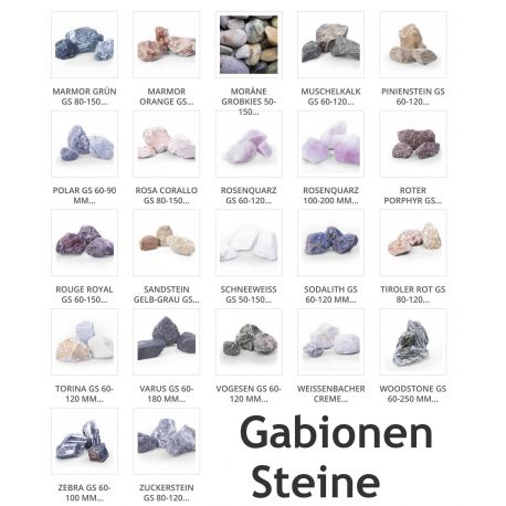 Auswahl an Gabionensteine