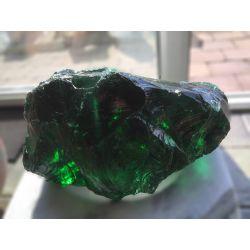 Glasbrocken grün als Quellstein gebohrt 14x31x19 cm