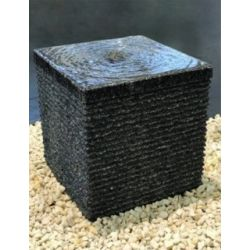 Granit-Würfel anthrazit, geriffelt, H30x30x30 cm mit  Zubehörset