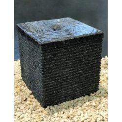 Granit-Würfel anthrazit, geriffelt, H40x40x40 cm mit Zubehör-Set