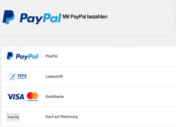 PayPal PLUS Bezahlarten